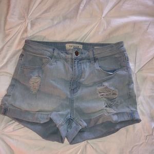 Pacsun white washed ripped shorts, super stretch